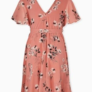 Torrid Dusty Coral Floral Wrap Dress New Size 2x